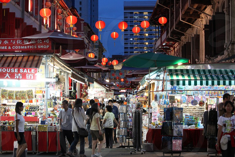 a market street in china town in the city of Singapore in Southeastasia. photo