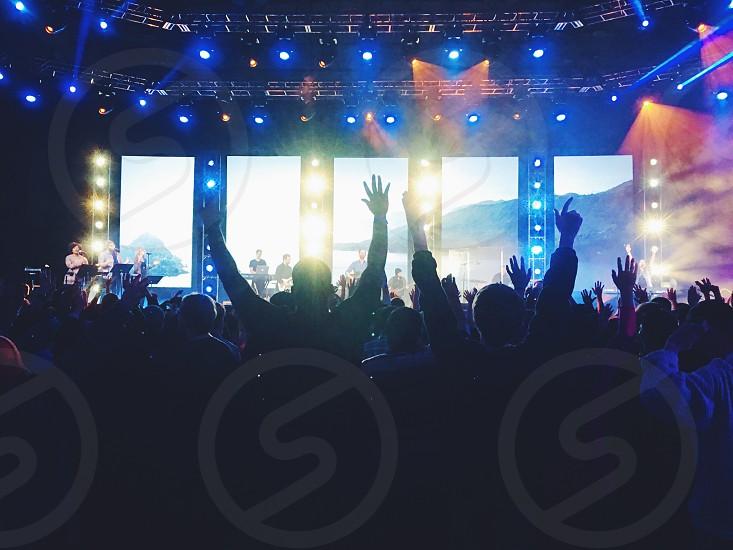 Concert show music large auditorium crowds silhouette summer photo