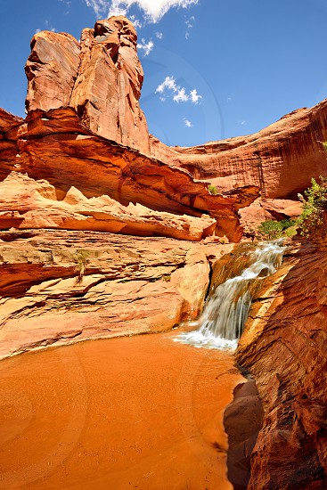A waterfall within Coyote Gulch.  Glen Canyon National Recreation Area Utah. photo