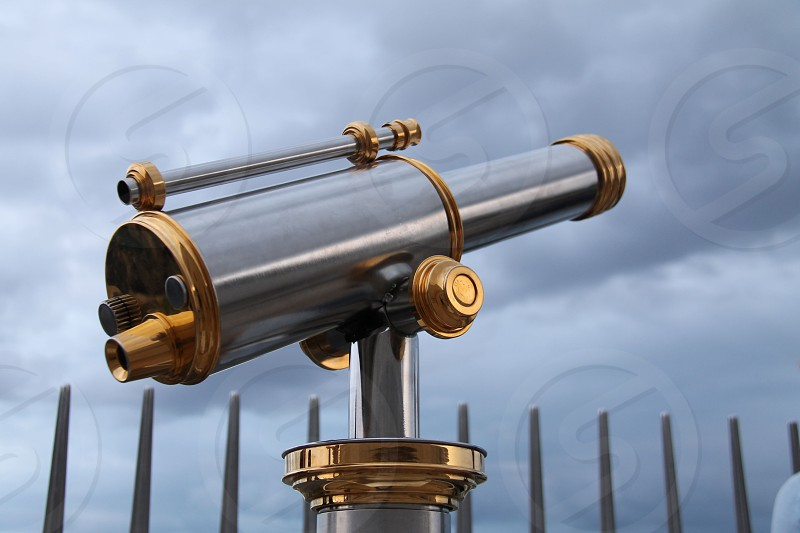 brass and stainless steel tourist telescope photo