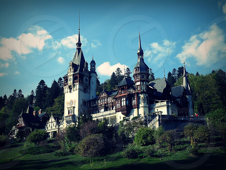 Peles Castle and mountains photo
