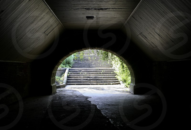 walking tunnel stairs light arch photo