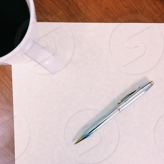 Coffee pen paper letter photo
