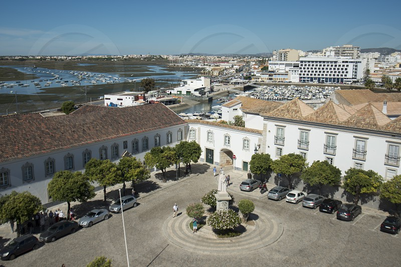 the city centre at the Lago de Se in the old town of Faro at the east Algarve in the south of Portugal in Europe. photo