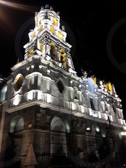 illuminated church Puebla Mexico. photo