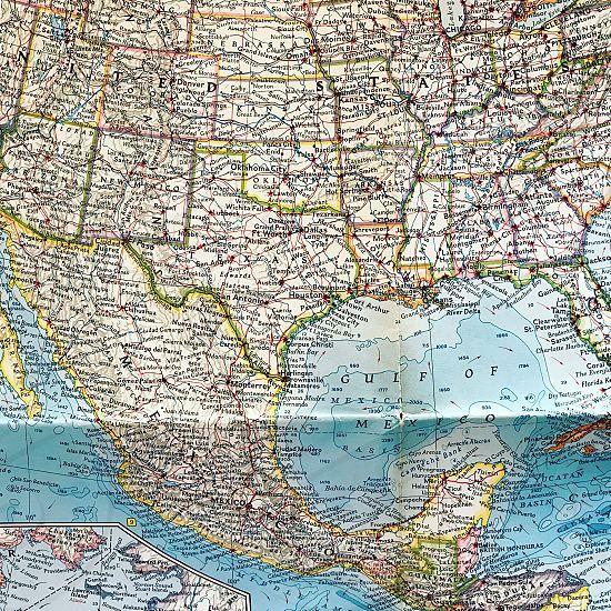 Mexico Gulf of Mexico  America  states coast  Yucatán  map photo