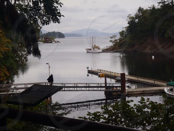 View of the water at Butchart Gardens BC Canada. photo
