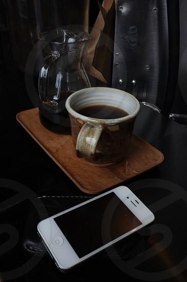 brown printed ceramic mug photo