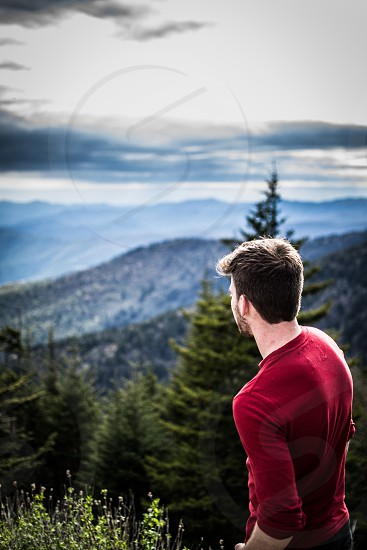 Clingman's dome overlooking the Appalachian Mountains beautiful horizon and stunning sky. photo