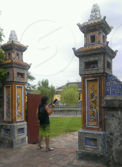 At the gates ready to take pictures. Vietnam. photo