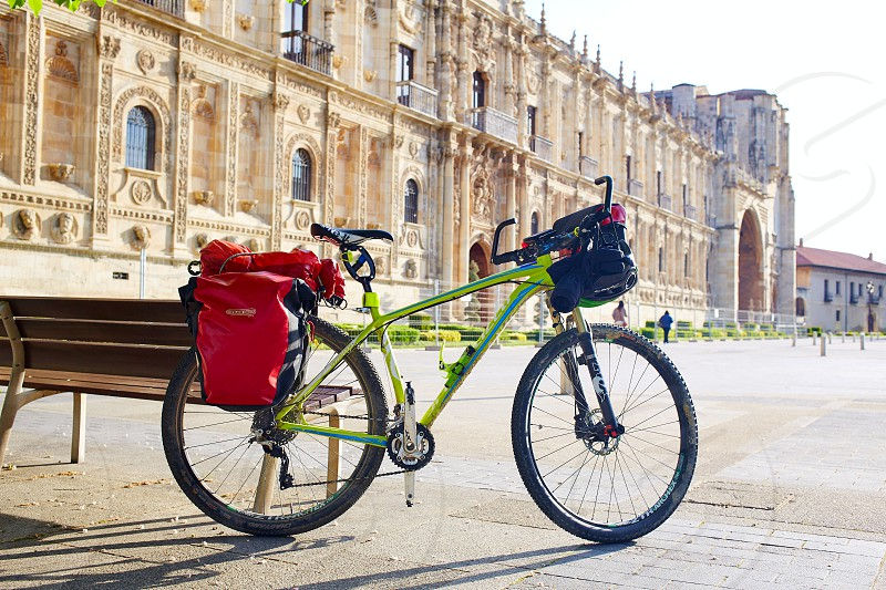 San Marcos in Leon bike at the way of Saint James Castilla Spain photo