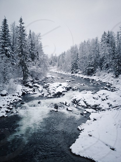 Winter river scene photo
