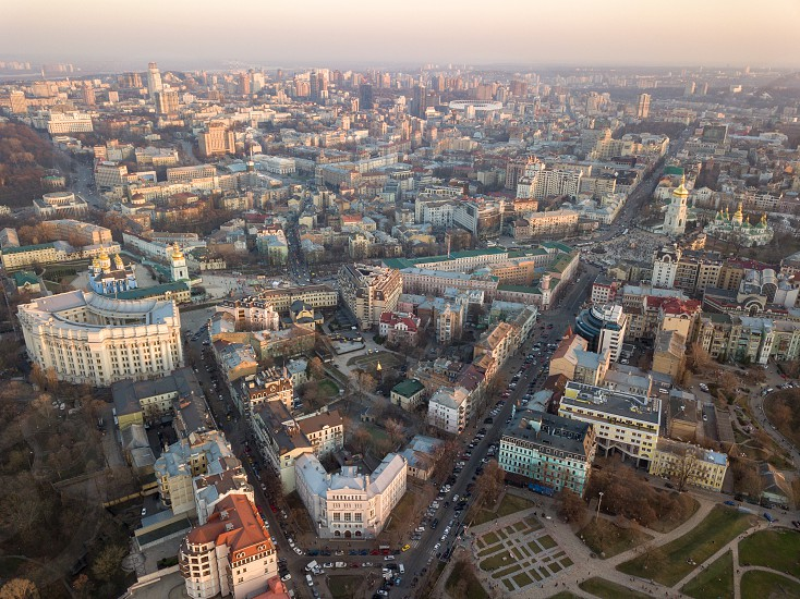 Ministry of Internal Affairs Sofievskaya Tower and the square St. Michael's Cathedral the city center and Vladimirsky Proyezd in the city of Kyiv Ukraine. Photo by drone photo