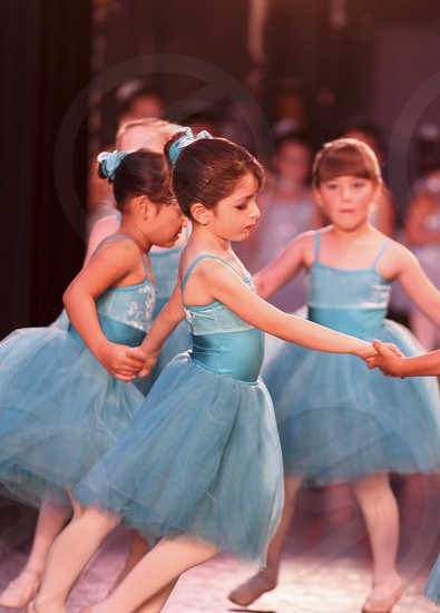 Ballet recital girl's in blue. photo