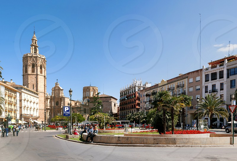 Valencia Spain May 1st 2013: Plaza de la Reina in Valencia Spain with the cathedral and bell tower in the distance photo