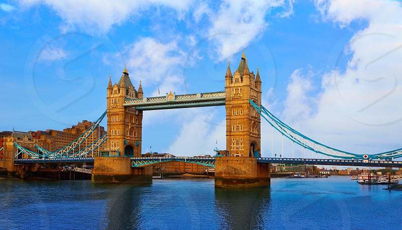 London Tower Bridge over Thames river in England photo