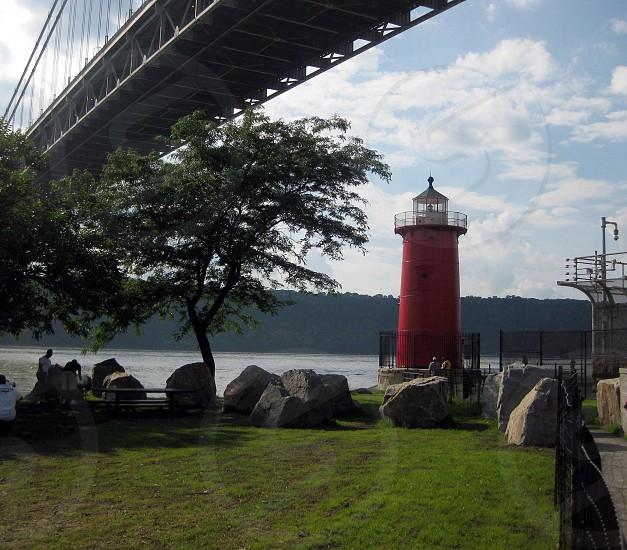George Washington Bridge and The Little Red Lighthouse New York City  photo