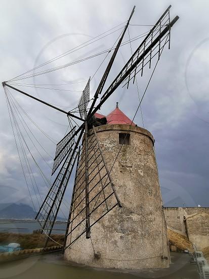 Trapani windmill Sicily photo