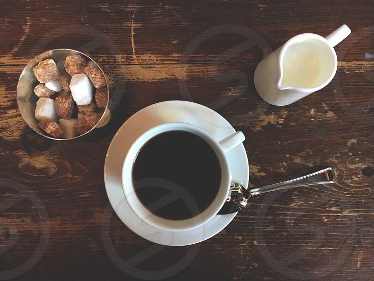 Coffee cream sugar wood tableware photo