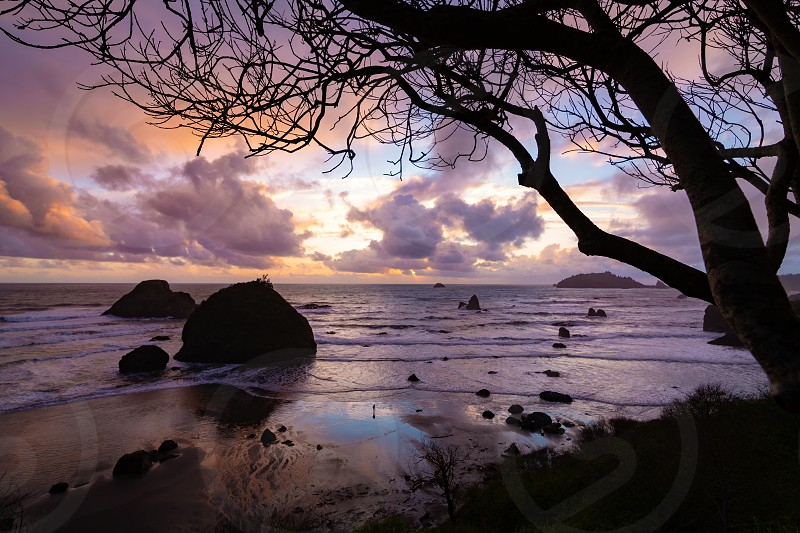 Color image of a beautiful sunset overlooking the Pacific Ocean in Northern California. photo