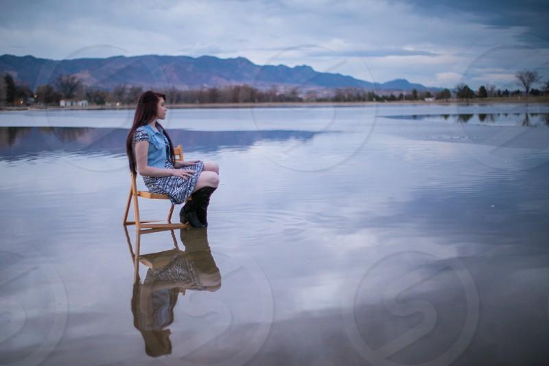 Reflective girl  photo