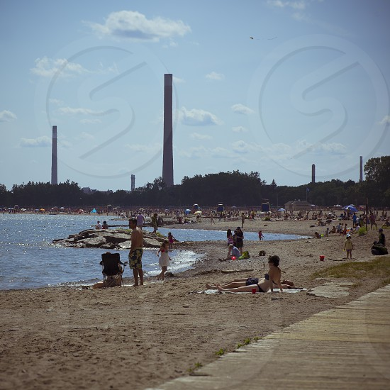 Vintage stylized photo of the beaches in Toronto from summer 2013. photo