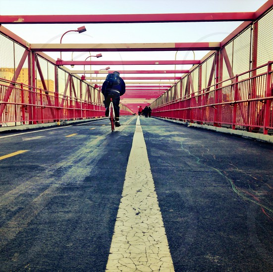 red metal walkway bridge photo