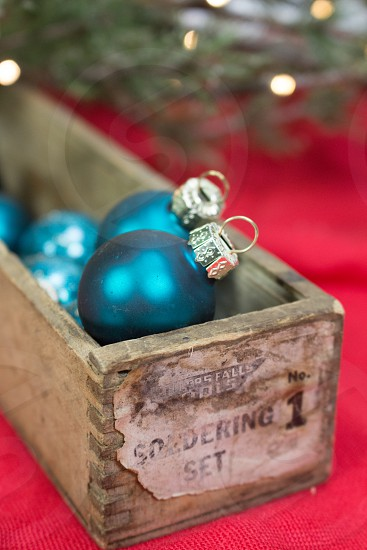 Ornaments balls rustic holiday Christmas decorations greenblue wooden  photo