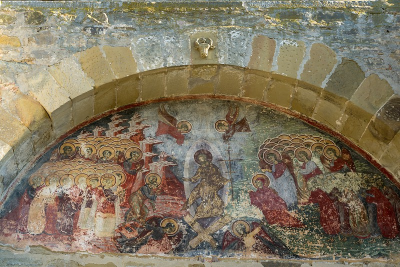 SUCEVITA MOLDOVIA/ROMANIA - SEPTEMBER 18 : Exterior view of the Monastery in Sucevita in Moldovia Romania on September 18 2018 photo