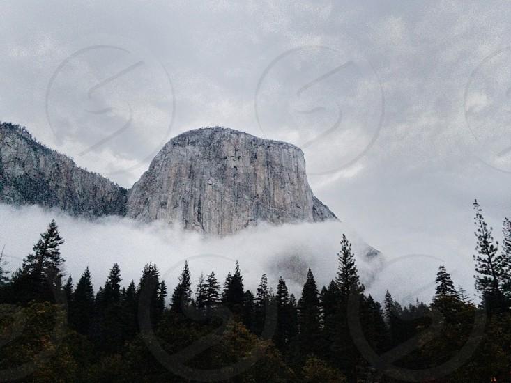 beige mountain over gloomy weather photo