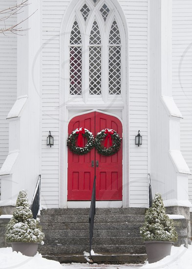 New England Church - Snow - Red door photo