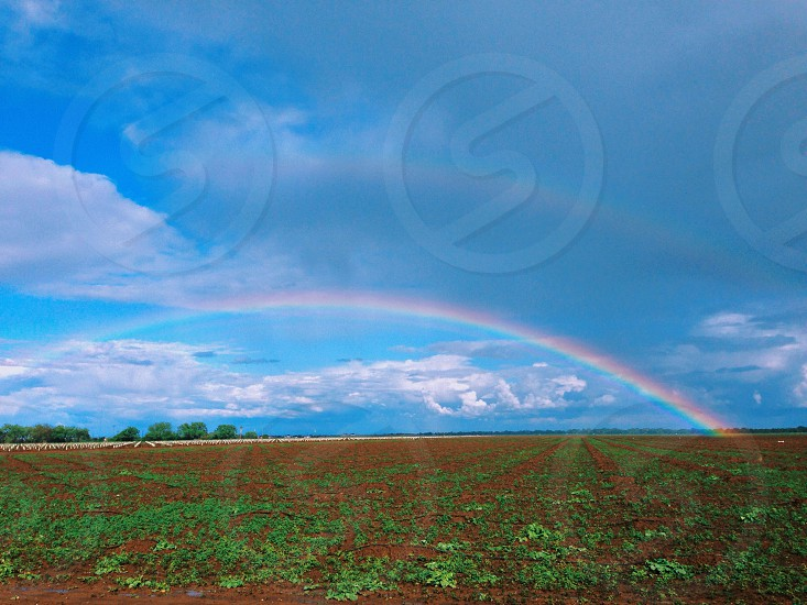 view of a rainbow on blue sky photo