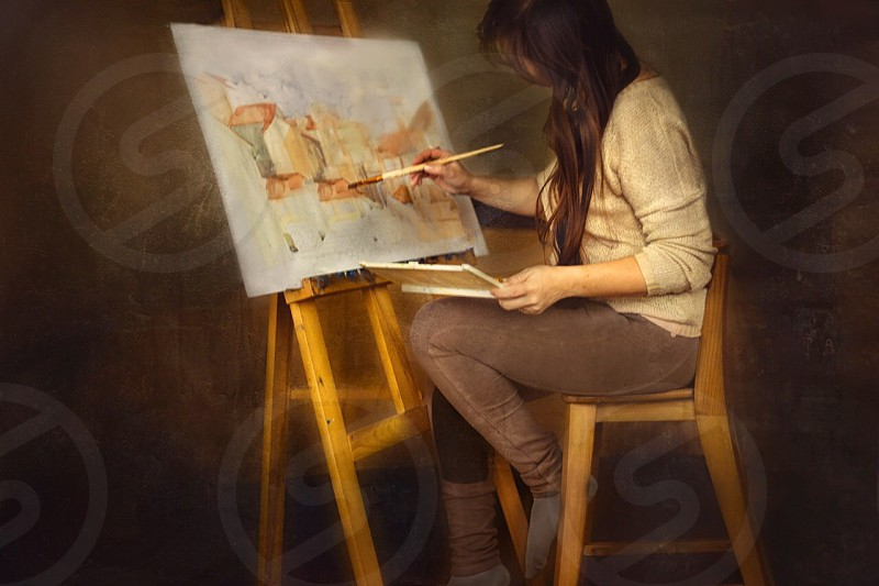 Artist painter easel watercolor people woman created creativity picture paper dark wood wooden aquarelle photo
