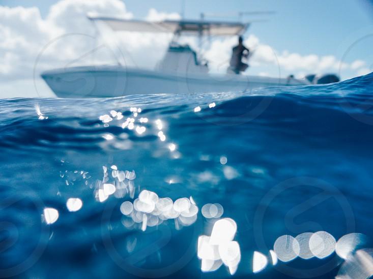 ocean sea boat water blue photo