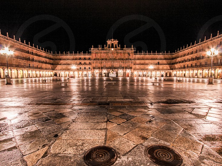 European buildings with lights at night photo