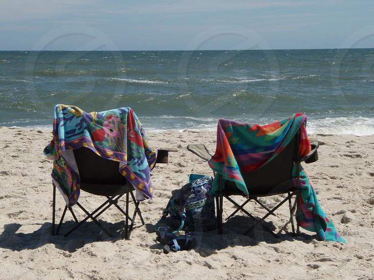 Empty beach chairs. photo