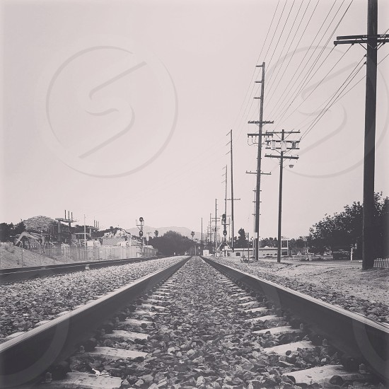 grey rail road photo