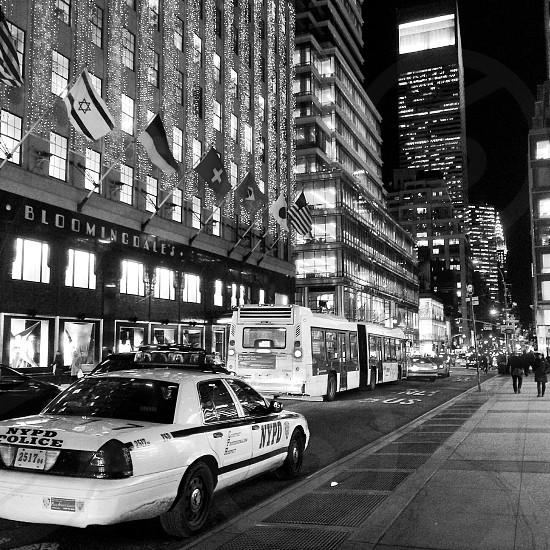 grayscale photograph of cityscape photo