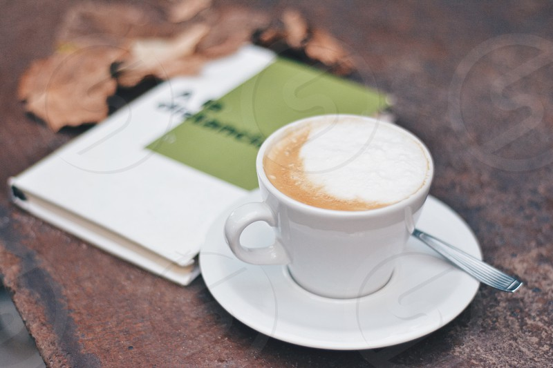 Coffee read book peace quiet autumn photo