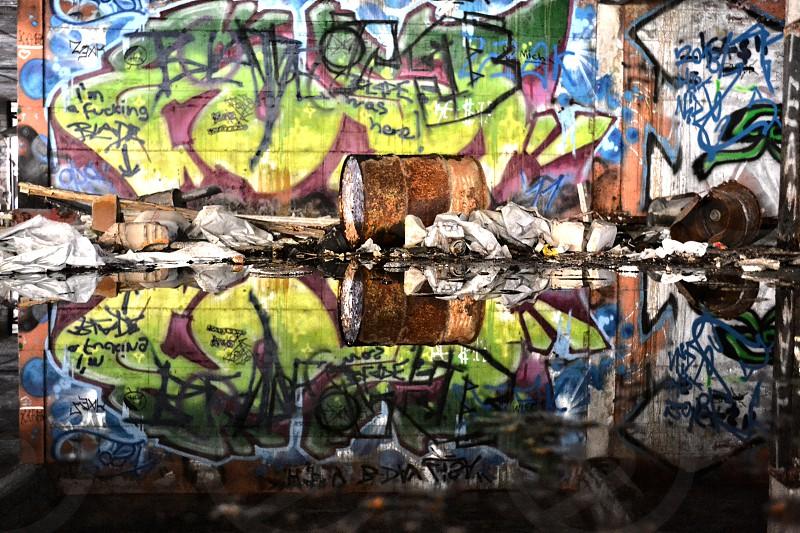 Mirrored barrel abandoned parking garage Steglitz Berlin Germany photo