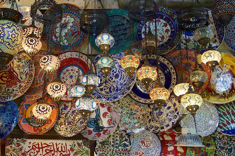 Grand Bazaar  istanbul turkey lamps grand bazaar photo
