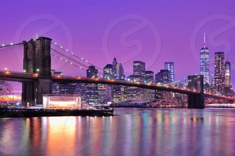 brooklyn bridge with lights turned on photo