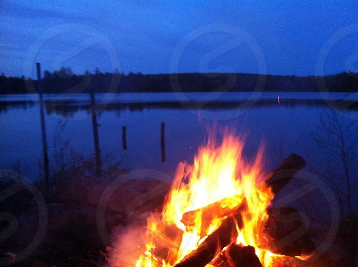 Lakeside campfire photo