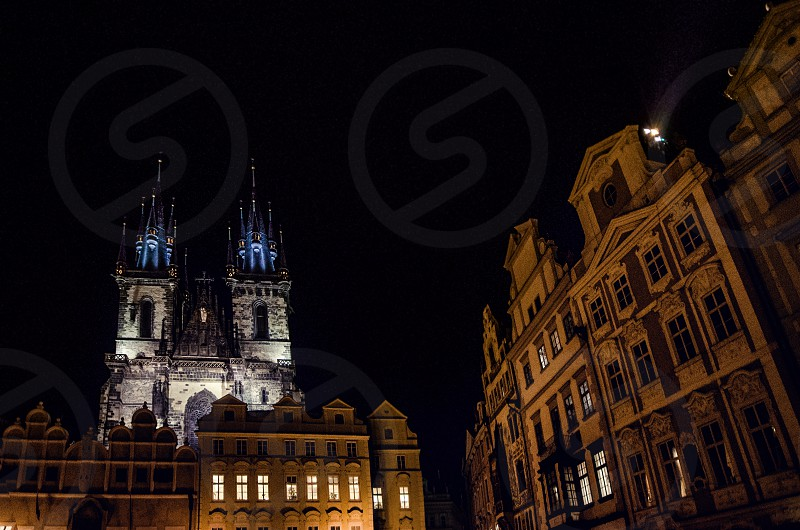 Night view of the Church of Our Lady before Týn in Prague Czechia. photo