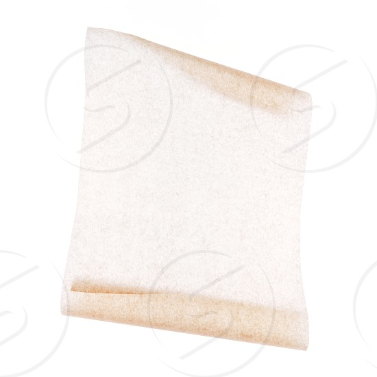 Baking parchment paper on a white background. Layout or mock up for menu or recipes. photo