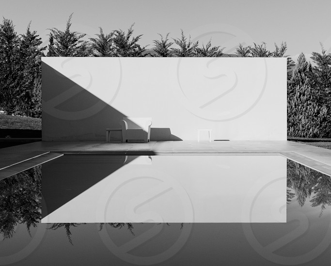 Black and white black reflections pool architecture lines shadows minimal bnw photo