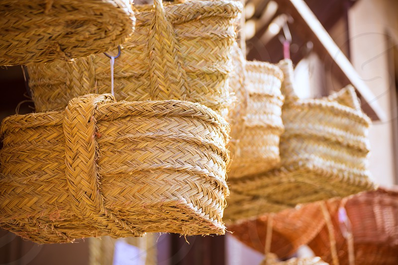 Valencia traditional esparto basket crafts near Mercado Central of Spain photo