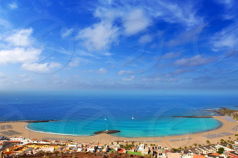 Aerial view Las Vistas beach in Arona south Tenerife photo
