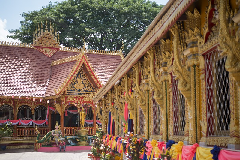 the Wat Si Muang Temple in the city of vientiane in Laos in the southeastasia. photo