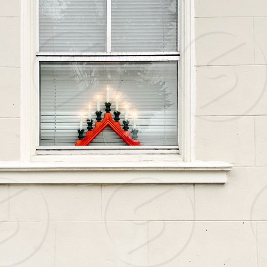 Christmas decoration in window photo